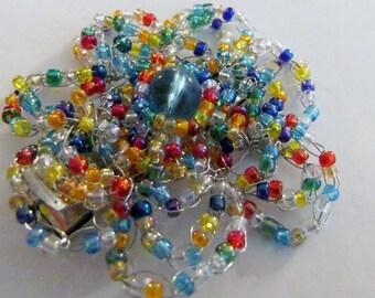 Rainbow Flower Hair Clip Beaded Wire Crochet
