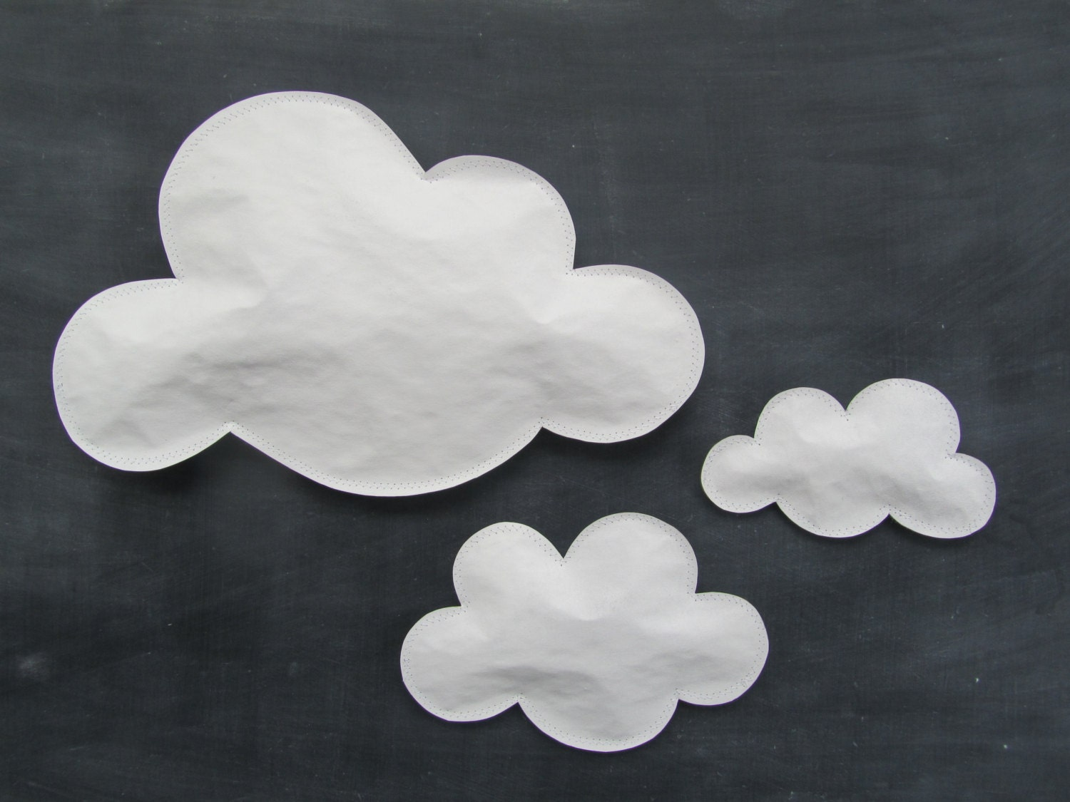 Cloud art set of three white paper clouds for wall hanging for How to make a paper cloud