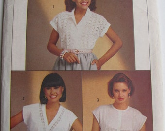 1980's Sewing Pattern - Simplicity 6803 Easy sew set of blouses Size 10 - 14 Uncut and factory folded