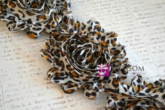 1/2 or 1 YARD Increment - Black/Brown LEOPARD - Shabby Chiffon Flower Rose Trim - Headband Flowers - Animal Print