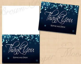 Midnight Blue Night Sky Thank You Cards (Folds to 5.5x4.25): Text-Editable, Printable, Instant Download
