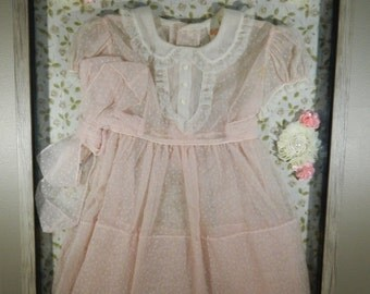 Vintage Shadow Box / Baby Decor / Pink Baby Dress Display