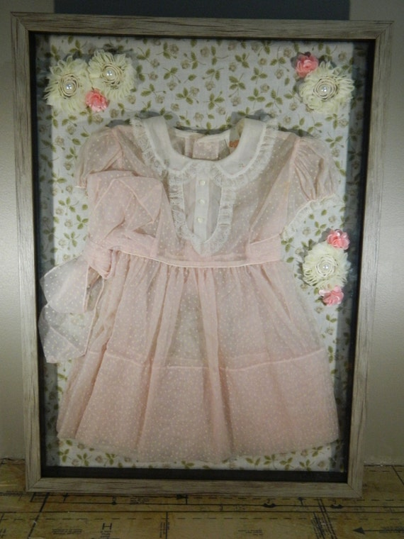 Items Similar To Vintage Shadow Box Baby Decor Pink