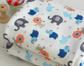 Cotton Knitted Fabrics,lovely Elephant, Lion, Rhinoceros, Turtle animals, Cute Cartoon Pattern 1/2 yard (C275)