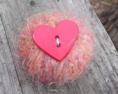 pink and orange rag doll recycled pin cushion handcrafted dryer lint yarn wrapped unique quirky fun red heart sewing notion eco friendly