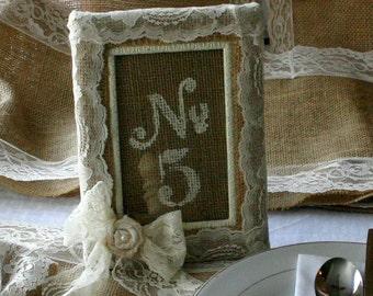 Burlap table number frame, Wedding photo frame,