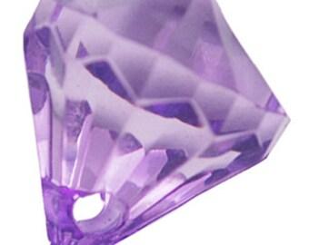 25 ct Crystal Pendant Diamond Drop Vintage Prism 12mm Lucite Faceted - Purple Transparent Chandelier Crystal (CBCP17-1012)