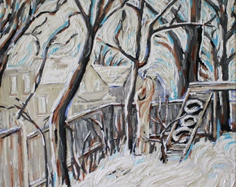 Ottawa Barkyard in Winter 12 x 12, Original Acrylic Painting on canvas