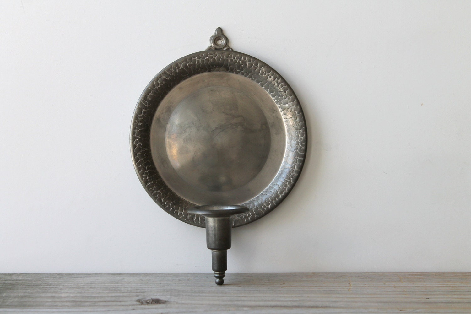 Vintage pewter candle holder / wall sconce / rustic home decor