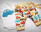 baby boy, pants, matching onesie, set. cars, trucks, red, orange, green, blue, adjustable, aladdin. By Jimmers and June on etsy.