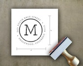 Custom Address Stamp, Rubber Stamp, Wood Handle Distressed Circle Initial Stamp