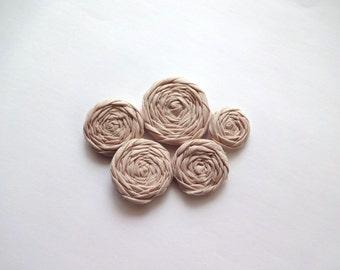 Beige Fabric Rosettes Embellishment