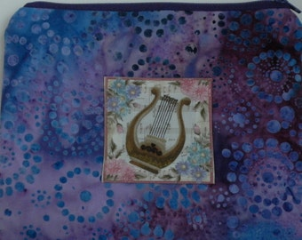 Music Gift Harp on Purple Zippered Pouch