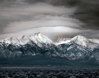 Canvas infrared mountains snow Colorado fine art photograph print 16x24