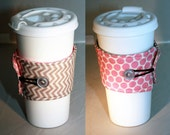 Reversible Coffee Sleeve-  Gray Pink CHEVRON
