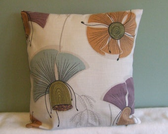 """Clearance 16"""" contemporary modern duck egg blue. purple, cream, orange flowered cushion cover, pillow, pillow case, scatter cushion."""