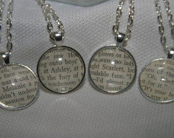 Book Page Pendant  Gone With The Wind Necklace Literary Jewelry Book Necklace Gone With The Wind Fandom