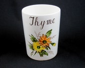English Porcelain Thyme Vase with Yellow Orange Flowers