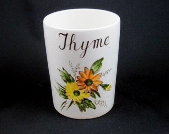 English Porcelain Thyme Vase with Yellow Orange Flowers