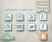 Social Media Icons PHOTOSHOP TEMPLATES - Media Icon