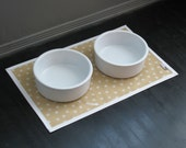 Tan & White Polka Dot Pet Placemat with Solid White Border