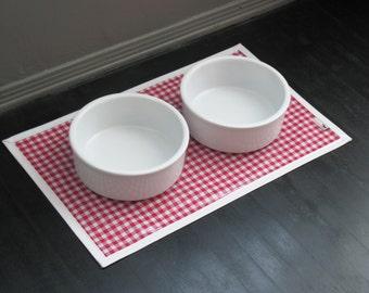 Red Gingham Pet Placemat, Waterproof Splatmat