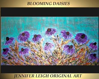 Original Large Abstract Painting Modern Contemporary Canvas Art Purple Turquoise BLOOMING DAISIES 48x24 Palette Knife Texture Oil J.LEIGH