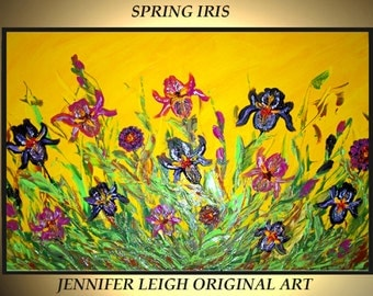 Original Large Abstract Painting Modern Contemporary Canvas Art Yellow Purple Pink SPRING IRIS 36x24 Palette Knife Texture Oil J.LEIGH