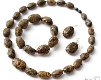 Set of Massive Baltic Amber, Necklace, Bracelet and Earrings, Black Amber Beads