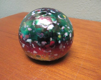 Vintage blown multi colored glass paper weight with iridiscent surface weighs 1 1/2 pounds
