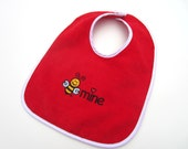 Adorable Baby Bib | Embroidered BEE MINE | Bee Image | Heavy Terry Velour Cotton | Large Coverage | Red Bib With White Trim
