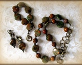 RESERVED FOR JOSH--RhyoliteOpal/Rainforest Jasper Antiqued Bronze Necklace, Bracelet and Earrings