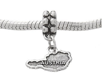 Sterling Silver One Sided Country of Austria Dangle European Bead Charm