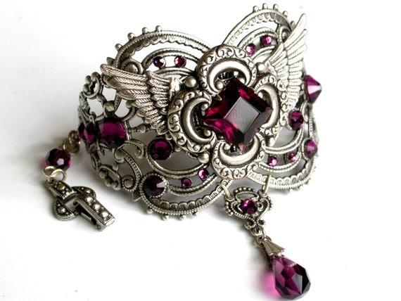 Amethyst Swarovski Bracelet Cuff Silver Women Wrist Bracelet Vintage Style Victorian Gothic Jewelry