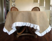 """108""""x66""""  Burlap Table Cloth with White Torn Linen Ruffle"""