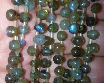 6 x 5 mm Labradorite Teardrop Beads Q2