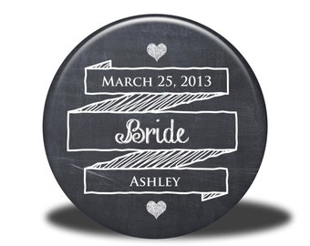 PERSONALIZED Bride Gift - Mirror, Magnet, Bottle Opener or Pin - Chalkboard