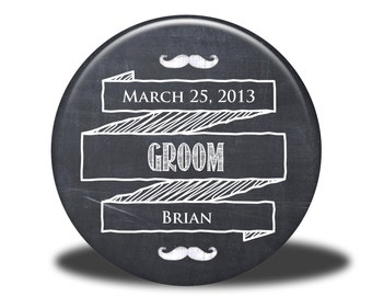 PERSONALIZED Groom Gift - Mirror, Magnet, Bottle Opener or Pin - Chalkboard