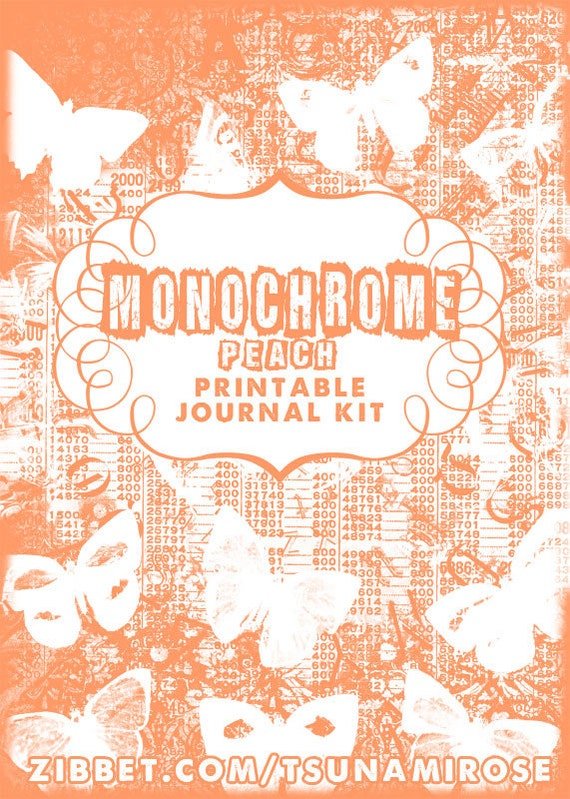 Monochrome PeACH Printable Journal Kit- INSTANT DOWNLOAD