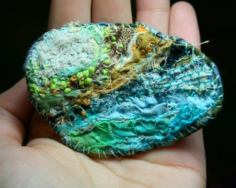 hand made, eco-friendly custom abstract fiber wearable art- necklace/brooch