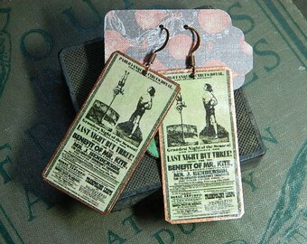 Circus earrings Original Victorian poster image Beatles Inspiration Mr. Kite  mixed media jewelry