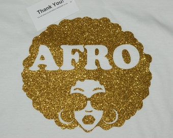 Afro T-shirt-V-NECK Glitter Afro  T-shirt  (Specify Gold or Silver)