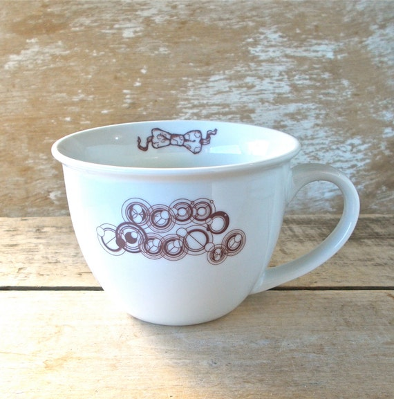 Hello Sweetie in Gallifreyan Mug, 14 oz Matt Smith Doctor Who Coffee Cup, River Song, Tea Cup Teacup,  Phone Box Bow Tie, Ready to Ship