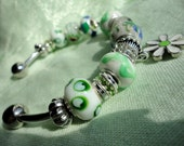 Green Changeable Bead Bangle Bracelet with Charm