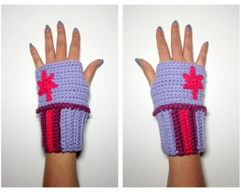 MLP Twilight Sparkle Geeky Gauntlets. Wristwarmers. My Little Pony Fingerless Gloves. Super Fandom Series. Crochet Star Accessory. Cosplay.