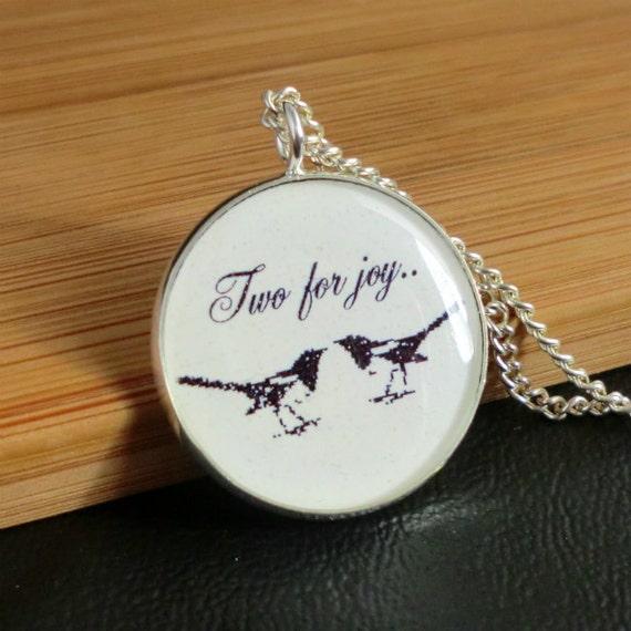 Magpie Bird Glass Pendant Necklace Black White Art Illustration Picture, Glass Jewellery
