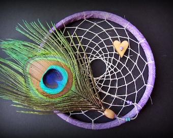Purple Dream Catcher - 6 inch hoop - peacock feather dreamcatcher - dreamcatchers - boho nursery