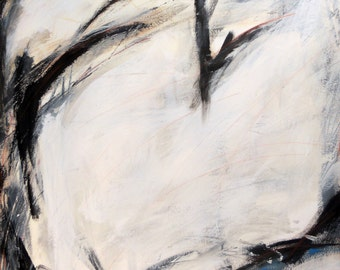 Pause, 12-28-12  (abstract expressionist painting, black, pastel, white, cream)