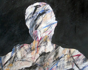 Self Portrait 1, 5-26-13  (abstract painting, black, red,, white, ivory, yellow, cream, blue, gray)