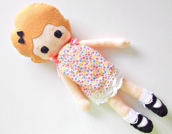 Heirloom Felt Doll - Rag Doll - Gingermelon Doll - Hand Dyed Felted Wool